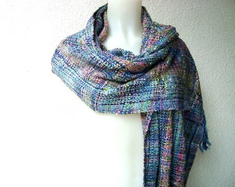 Handwoven Multicoloured   Shawl  / Wrap / Scarf  Shiny OOAK