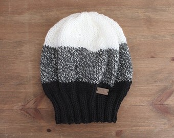 The Lost Trail Hat - black, marled grey and white knit color block beanie hat