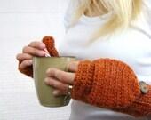 Convertible Mittens, Dark Apricot Glitten, Burnt Orange Mitten, Alpaca Fingerless Gloves, Crocheted Mitts, Wool Mittens, Texting Gloves