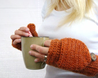 Convertible Mittens, Dark Apricot Glitten, Burnt Orange Mitten, Alpaca Fingerless Gloves, Crocheted Mitts, Wool Mittens, Texting Gloves