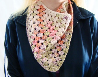 Colorful Kerchief, Boho Triangle Scarf, Crochet Scarf, Crochet Bandana Scarf, Kerchief Scarf, Crochet Triangle, Bandana Kerchief Scarf