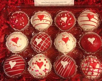 Valentines Day Gluten Free Truffle Cake Balls Or Cake Pops Gift  Box 1 Dozen  or any Occasion