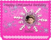Girl Winter ONEderland Cake Topper - 1/4 sheet Custom Design