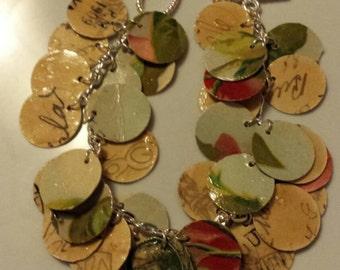 """Vintage """"Rose Postcard"""" Toggle Charm Bracelet - paper bead"""