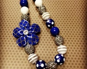Blue and Silver Quatrefoil Chunky Bead Necklace...Necklaces...Childrens Jewelry...Chunky Beads...Jewelry...Girls Necklaces