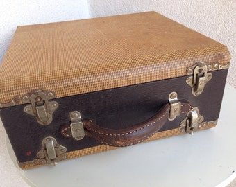 Vintage slide case Baja by Barnett Jaffee two sided leather handle tweed print