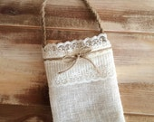 Burlap Flower Girl Bag w/ Cream Lace and Jute Twine Handle - Choose Your Color- Country/Barn/Beach/Shabby Chic/Rustic/Folk/Wedding