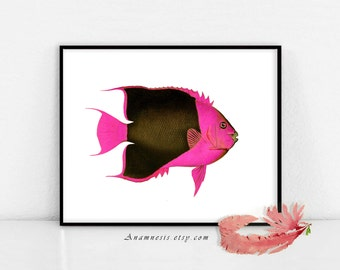 COLORFUL TROPICAL FISH 2 in Hot Pink- digital image download - large printable fish illustration for image transfer - totes, pillows, prints