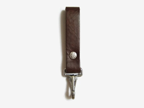 heavy duty rustic brown leather belt slide by angelleathershop