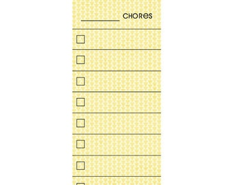 SKINNY Yellow  Fill In Chore Chart Magnet.  Wet Erase Marker Included.