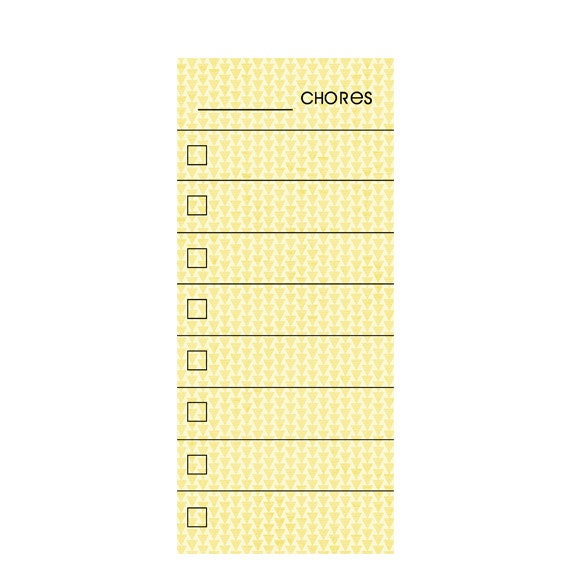 skinny yellow fill in chore chart magnet  wet erase marker