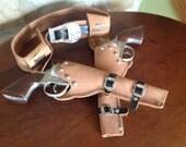 Roy Rogers Toy Gun Set with Pistols and Holster, Toy Cap Gun Set, Leather, Metal, Pistols, Gunslinger, Six-guns
