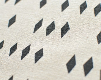 Fragments in Charcoal Grey : hemp/organic cotton handprinted fabric panel