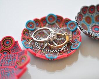 Dish, Turquoise & Salmon Geometric Polymer Clay