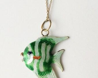 Guilloche Enamel Fish Pendant, Vintage Gold Filled Pendant Necklace, Tropical Fish Vintage Necklace
