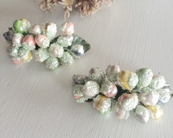 Sweet Brides Vintage Shoe Clips, Millinery Flower Clips, Sugar Beads, Bridal Shoe Clips, Pastel Berry Clips