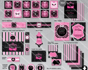Lingerie Bridal Shower Decorations | Printable Wedding Party Package | Lacey Pink Black Theme | Instant Download | Invitation Available