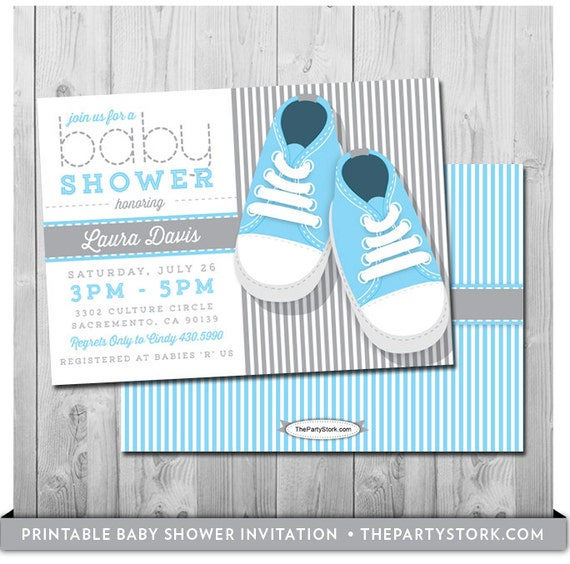 Boy baby shower invitations blue digital boy invite baby shoes il570xn filmwisefo