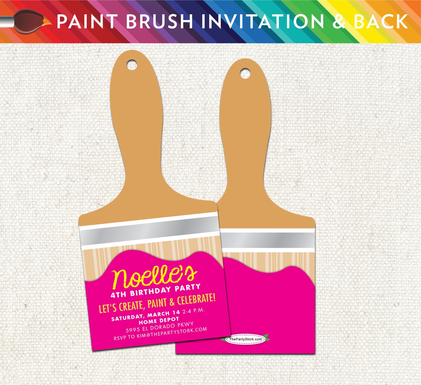 Art Paint Brush Party Invitation: Unique Printable Birthday