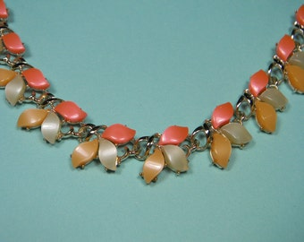 60s Vintage Thermoset Necklace or Choker, Tri-Color Coral, Caramel and Sage Green