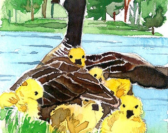 ACEO Limited Edition 3/25-Canadian goose and her goslings,Bird art print of an original watercolor painting, Housewarming gift idea,Bird art