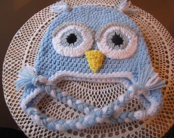 Owl Hat, Toddlers, Hand Crocheted, Baby Blue, White, READY TO SHIP