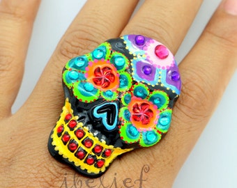 Skull ring handmade from polymer clay