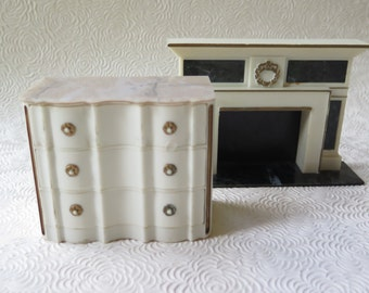 Doll Furniture Dollhouse Ideal Marble Petite Princess Fireplace Dresser Chest of Drawers Mid Century