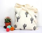 Cactus Tote Bag Hand Stamped