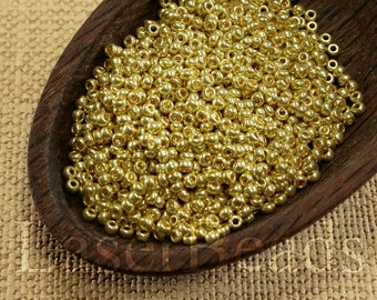 20g 11/0 seed beads Czech rocailles Yellow Gold Metallic Beads 31 MET Opaque seed beads last