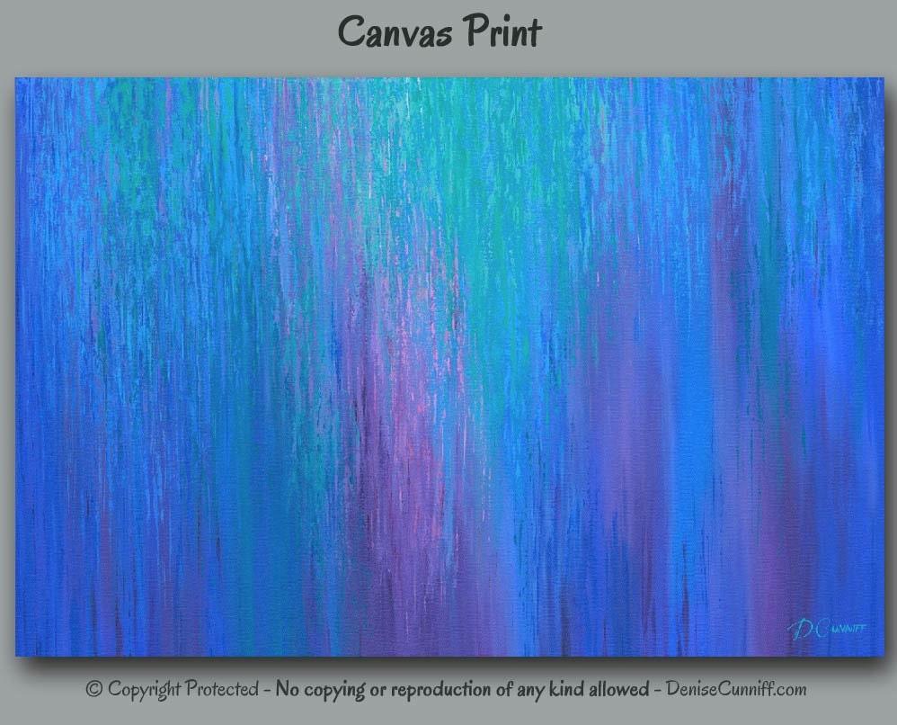 Large abstract print teal home decor cobalt blue wall art for Blue wall art