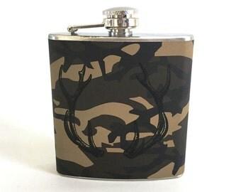 Whiskey Flask Hunter Stainless Steel 6oz Liquor Flask
