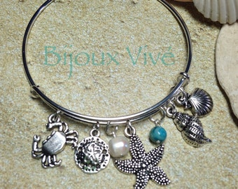 Beach Bangle Charm Bracelet