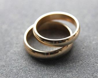 Wedding Ring Set: 9ct Yellow Gold Wedding Band Set, 5mm Mens Band, 4mm Womens Ring, D-shape Profile, Shiny Finish, Custom Sizes