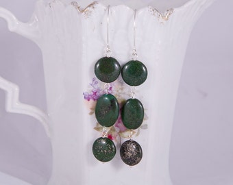 Forest green long sterling silver earrings with dark green stones, golden pyrite inclusions, lapis like stones, marquis shaped hooks