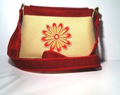 Crossbody Bag - Red with Yellow Accent Pocket/ 9x5x2 with 40 inches Fabric Strap