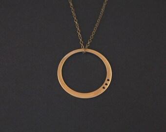 Luna Necklace- Brass Geometric Circle Necklace