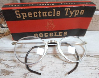Eyeglasses, Goggles, Safety Glasses, Industrial, Spectacles, Steampunk, Vintage Eye Glasses, Mens Eyeglasses, Props, NOS, All Vintage Man