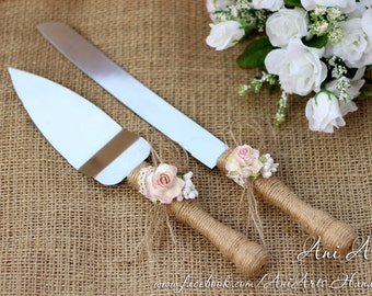 Wedding Cake Serving Set Rustic Wedding Cake Servers and Knives Burlap and Lace Wedding Cake Server Set Cake Cutting Set Cake Cutter Set