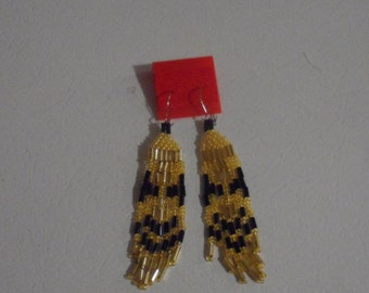 Gold and Black Seed Bead Earrings.