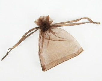 30 4 x 5 Chocolate Brown Organza Jewelry Gift Pouch Bags, bombaneers
