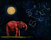 Art Print. Elephant Stars Moon Books Constellation. The Book's Constellation.