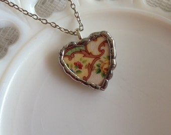 Broken China Heart Necklace