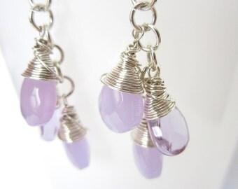 Purple Briolette Earrings, Wire Wrapped Sterling Silver Earrings