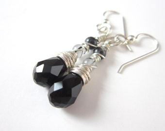 Black and White Gemstone Earrings, Sterling Silver Long Dangle Earrings