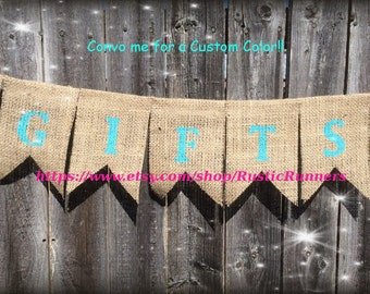 GIFTS Burlap hanging Banner, Wedding decor for Gift area, Rustic banner for Gifts, Shabby Chic Gifts hanging burlap banner, GIFTS  banner