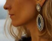 SALE Jaqueline - Sapphire and Milky Opal Swarovski Crystal Statement Earrings, Wedding Earrings - Ready to Ship