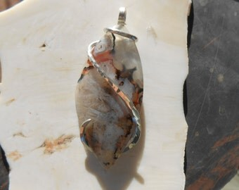 Turkish Agate Silver Wrapped Pendant