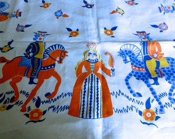 Vintage Scandanavian Folk Art Tablecloth