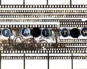 "Steampunk Bracelet Victorian Typewriter Key ""HEART of FAITH"" Vintage Black Buttons ooak"
